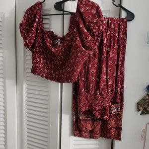 Two piece red floral set